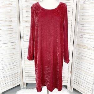 J. Jill | Red Velvet Long Sleeve Shift Dress